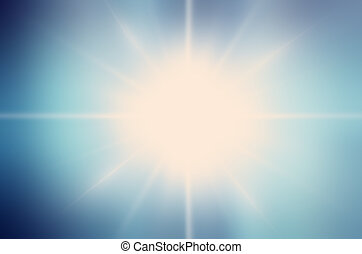 Abstract white rays over blue sky backgroundBlue color...