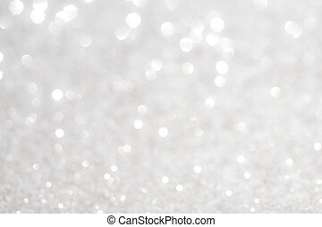 Silver white glittering Christmas lights Blurred abstract...