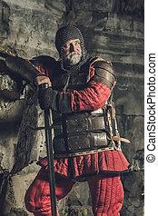 antigas, medieval, rei, em, armadura, com, espada,