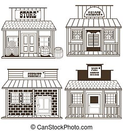 old west buildings outlined - collection of an old west...