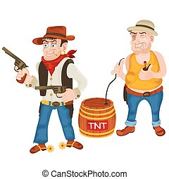 wild west bandits - Cartoon vector illustration of two...