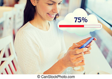 close up of woman with smartphone cloud computing - people,...