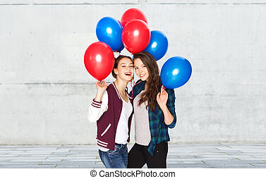 happy teenage girls with helium balloons - people, friends,...