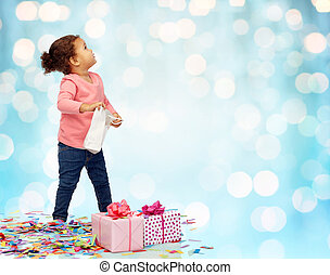 happy little baby girl with birthday presents - childhood,...