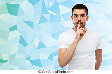 man making hush sign over low poly background - silence,...
