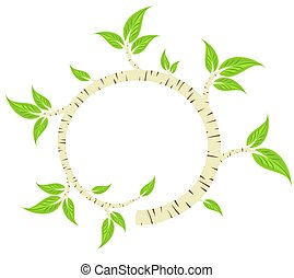 Frame with birch branch. - A round frame with birch branch.