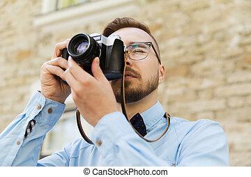 ciudad, joven, cámara,  hipster, película, hombre
