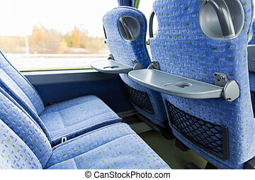 travel bus interior and seats - transport, tourism, road...