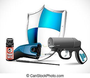Self defense weapons - taser, pepper spray and pepper pistol