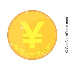 Yen Symbol Yuan, vector illustration - Gold coin with the...