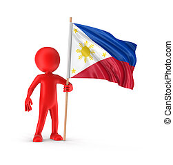 Man and Philippine flag Image with clipping path