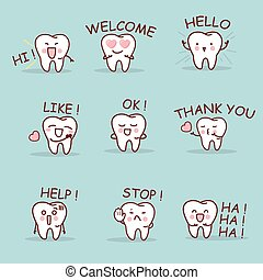 cute cartoon tooth set with all kind of emoji, great for...