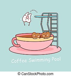 tooth with coffee - cartoon teeth taking the plunge with...