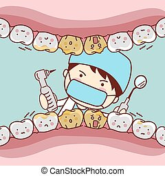 cartoon fear tooth with dentist and dental equipment, great...