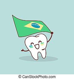 cartoon tooth hold brazil flag