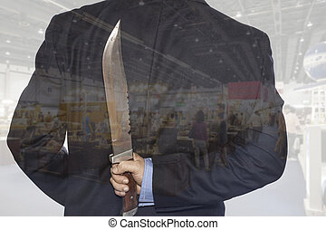 Double exposure Knife hidden behind the businessman