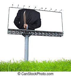 Knife hidden behind the businessman on billboard advertising...