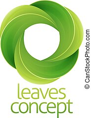 Circle Leaves Concept - Conceptual icon of a circle of green...