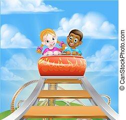 Roller Coaster Amusement Park - Cartoon boy and girl kids...