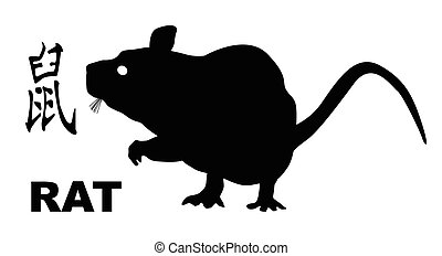 Chinese Year Of The Rat - The Chinese logogram and rat...