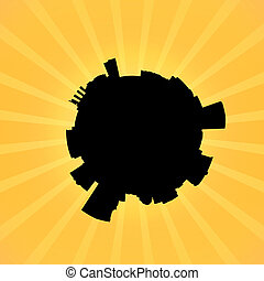 Circular Baltimore skyline on sunburst illustration