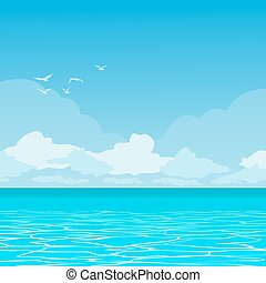 Ocean landscape - Vector landscape of tropical paradise. The...