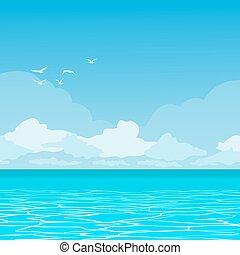 Ocean landscape - Vector landscape of tropical paradise The...