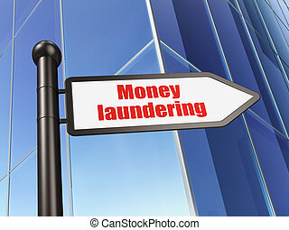 Currency concept: sign Money Laundering on Building...