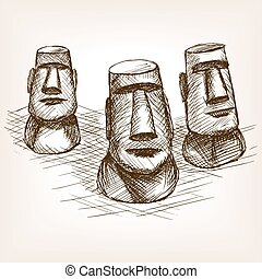 Moai easter island hand drawn sketch style vector - Moai...