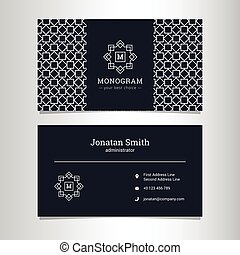 Vector elegant business card template with monogram logo and...