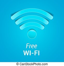 Free Wi-Fi sign on blue background. Wi-Fi icon like paper cut out with shadow. vector