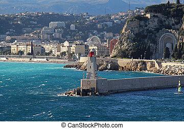 Nice Cote Dazur - Azure water in Mediterranean sea in Nice