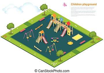 Children playground. Flat 3d isometric vector illustration for infographics. Swing carousel sandpit slide rocker rope ladder bench
