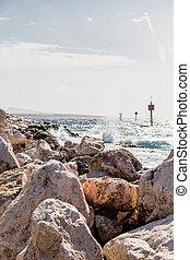 Rough Ocean Beyond Seawall in Curacao