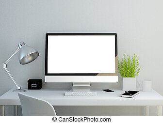 modern clean workspace with blank screen - modern clean...
