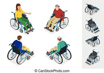 Wheelchair isolated. Man in Wheelchair. Flat 3d isometric...