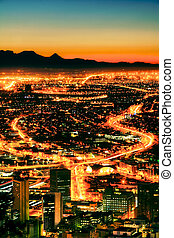 City at Night - Night time view of Cape Town from Signal...