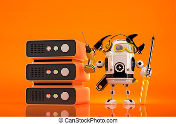 Robot Technician doing maintenance on server. Contains clipping path