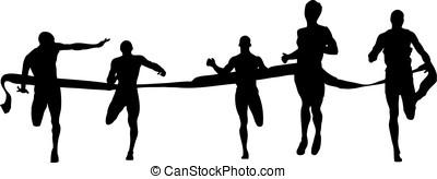 Finish runners - Finish of the running race, banner