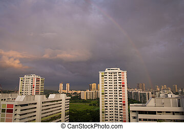 Rainbow over buildings - Singapore