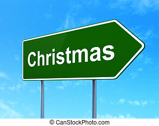 Holiday concept: Christmas on road sign background