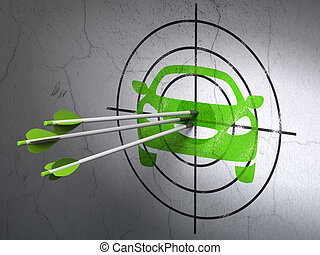Tourism concept: arrows in Car target on wall background
