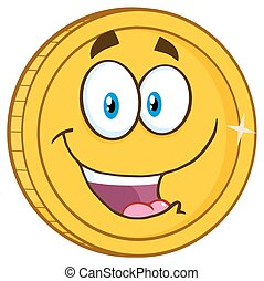 Smiling Golden Coin Character