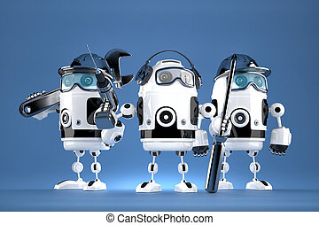Group of robot mechanics. Technology concept. Contains clipping path