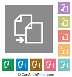 Copy square flat icons - Copy flat icon set on color square...
