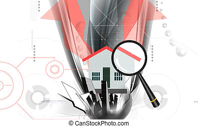 House - Illustration of house and magnifying lens