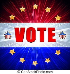 vote with shining american flag and golden stars