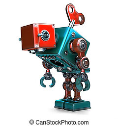 Wind-up overworked Robot with key sticking into his back....