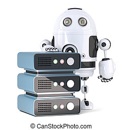 3d Robot with Server rack. Isolated. Contains clipping path