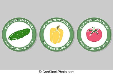 Vegetables Labels Set - Set of labels with hand drawn...